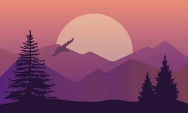 """Картина, постер, плакат, фотообои """"векторная иллюстрация ландшафта в северных районах, вечерний закат с сосновым лесом на скалах. красивый вид на луг с природой сосны, firtree, хвойные деревья, небо, горы и солнце ."""", артикул 98215188"""