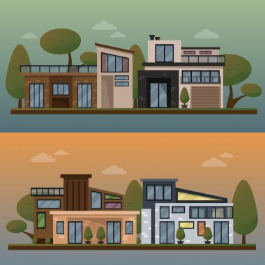 Vector flat illustration of two family house and sweet home banners outdoor street, private pavement, backyard with garage. Office architecture with beautiful plants and bushes. Private house banner