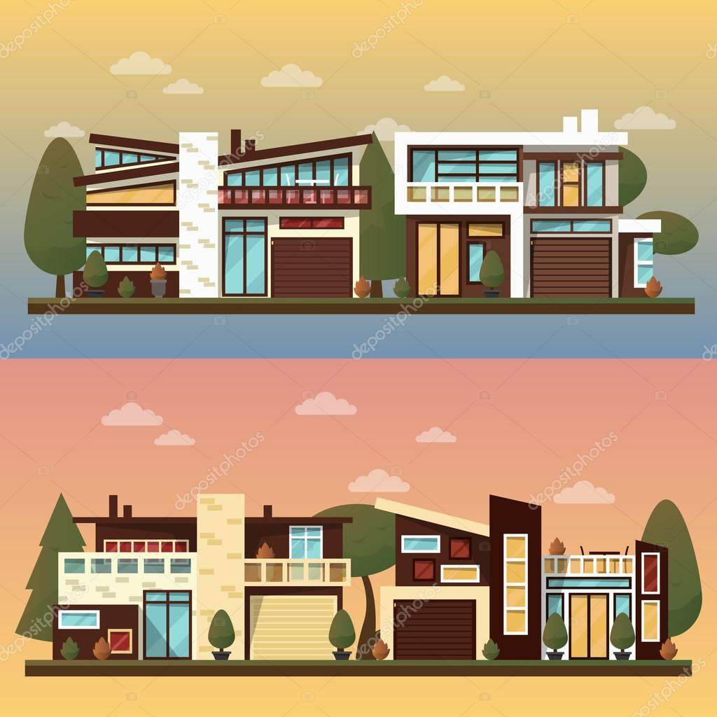 vector flat illustration of two family house and sweet home banners