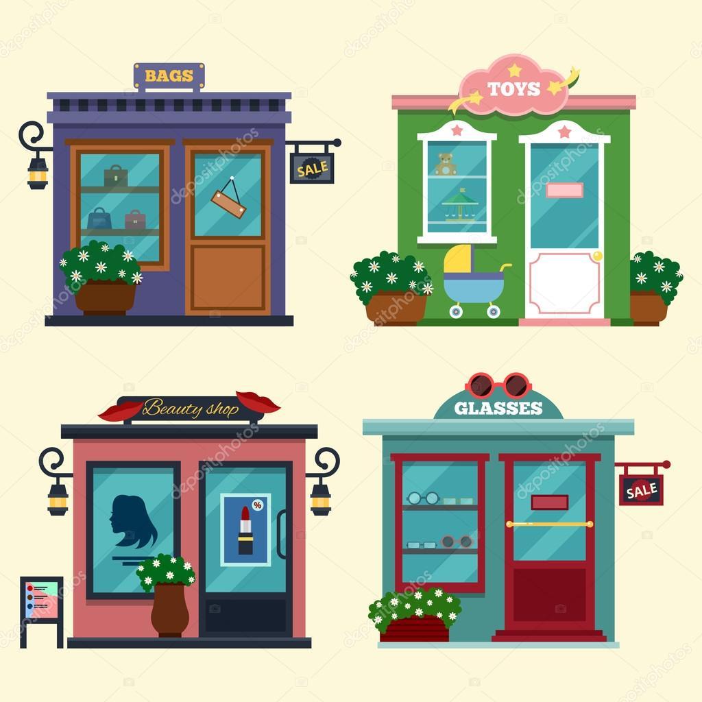 Vektor Illustration Von Gebuden Die Geschfte Fr Geschenke Kaufen Kosmetik Toys Verschiedene Vitrinen Verkauf Taschen Spielzeug Glsern Discount Verkaufs Cookamoto