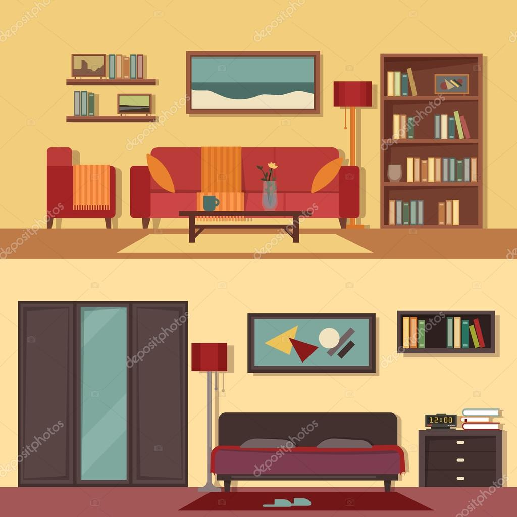Interior Of Modern Living Room In Flat Design Stock Vector: Vector Flat Illustration Banners Set Abstract Isolated For