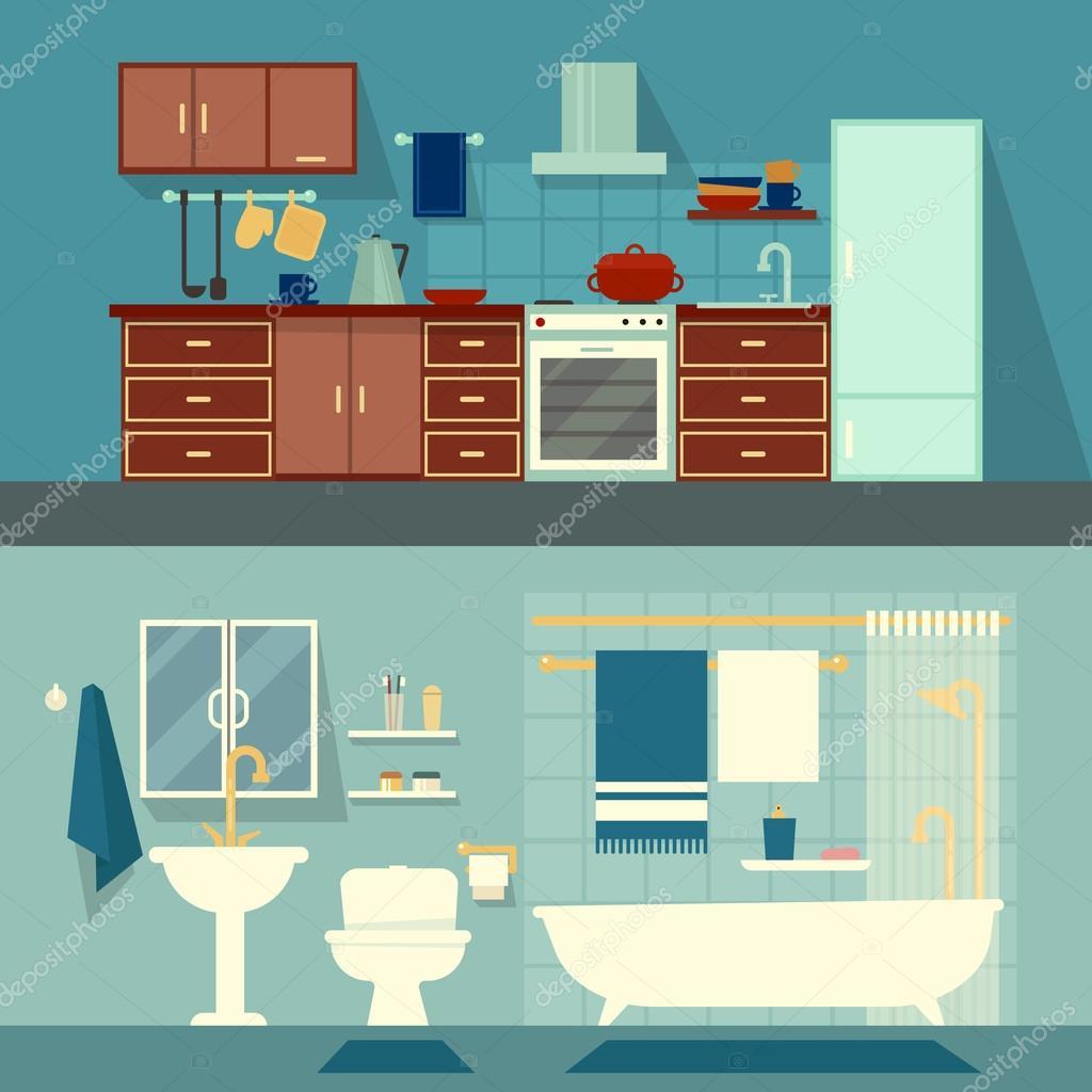 Vector Flach Illustration Für Zimmer Der Wohnung Haus Home