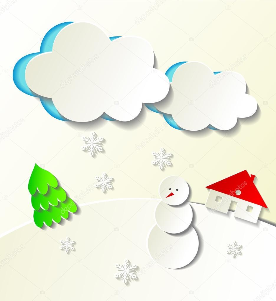 Paper cut out winter concept.