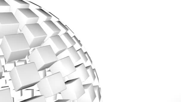 White 3D abstract technology clip. Revolving sphere. Seamless loop