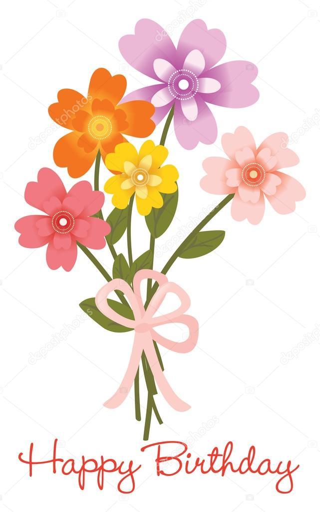 Bouquet Di Fiori Di Compleanno Felice Vettoriali Stock Wetnose