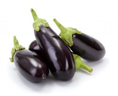 Pile of fresh ripe eggplants (Solanum melongena)