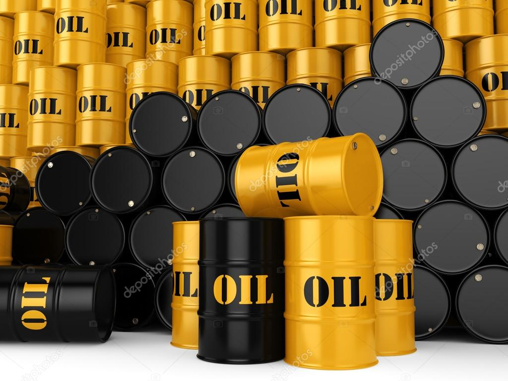 Prächtig 3D Rendering schwarze Ölfässer — Stockfoto © apopium #120276628 @ET_45