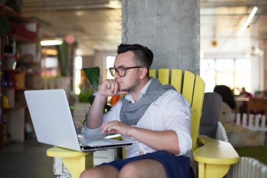 man working in startup office