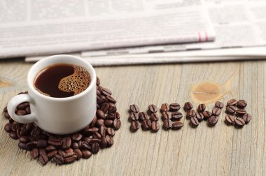 Coffee, newspaper and the word news