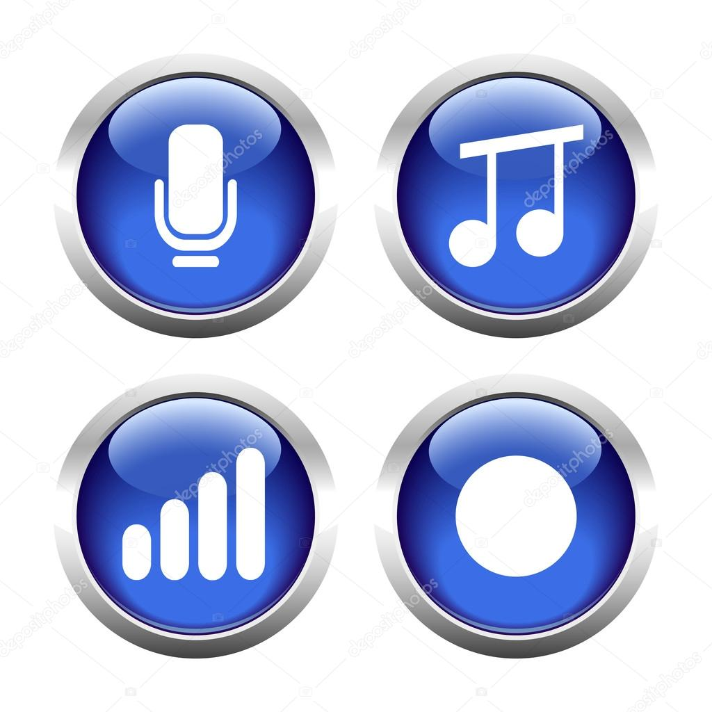 Set of buttons for web, microphone, music, record the sound level