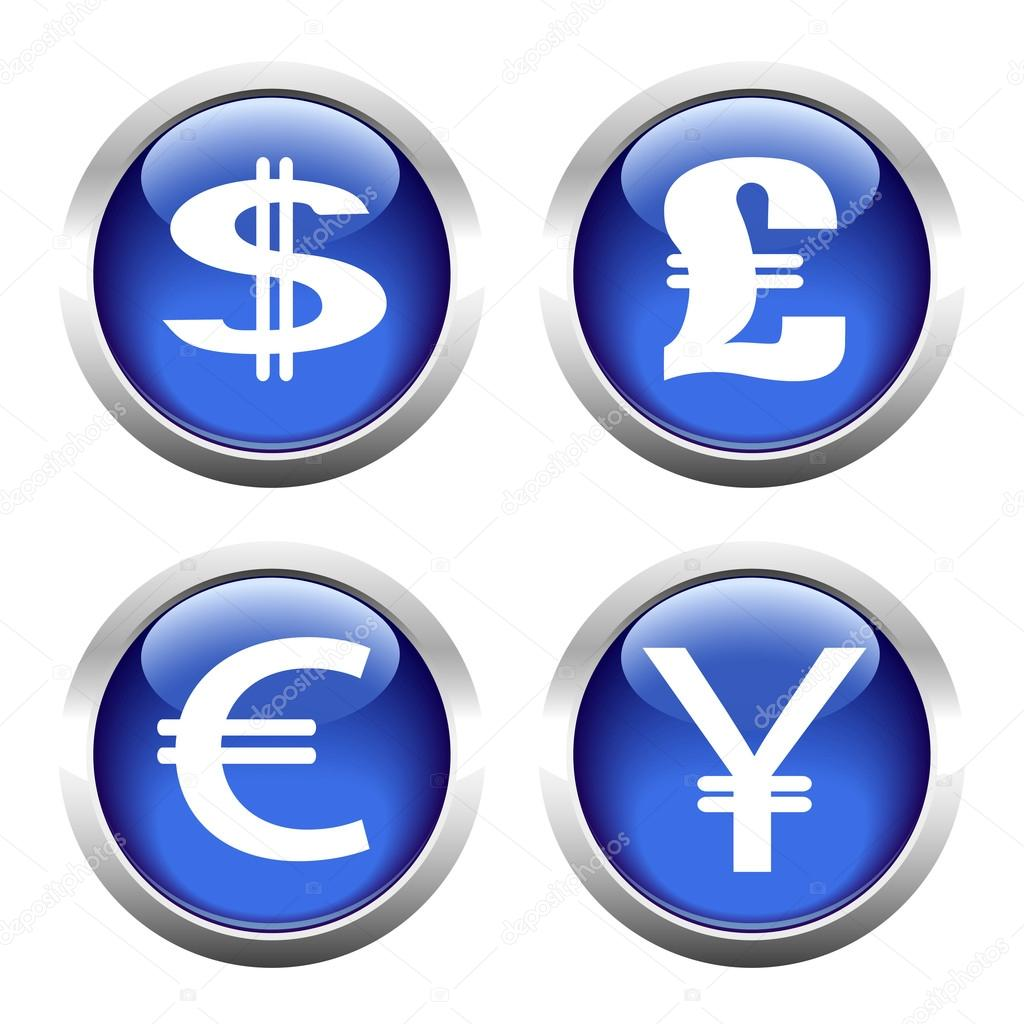 Set Of Buttons For Web Currency Symbols Dollar Euro Pound Y