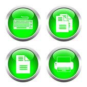 Sada barevných tlačítek pro web, tiskárna, klávesnice a dokumenty
