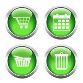 Sada barevných tlačítek pro web, vozík, nakupování, kalendář, garbag