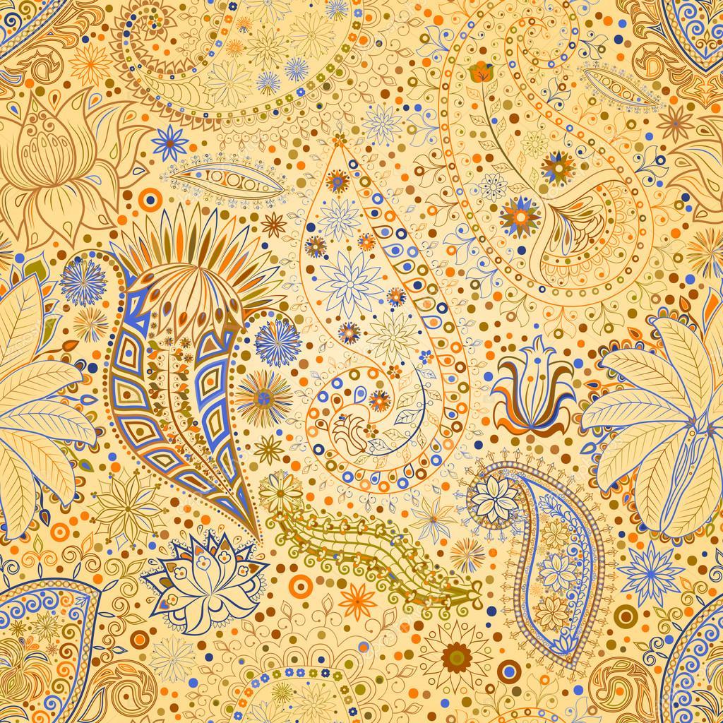 vintage floral motif ethnic seamless background stock vector glasscuter 76006473. Black Bedroom Furniture Sets. Home Design Ideas