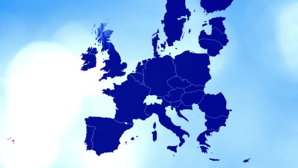 animated cartography with bokeh in background showing the United Kingdom being erased from the European Union map after the brexit referendum in 2016.