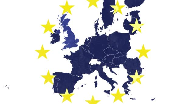 Brexit - EU textured map, white background and 12 symbolic stars - UK disappears in an evaporation effect