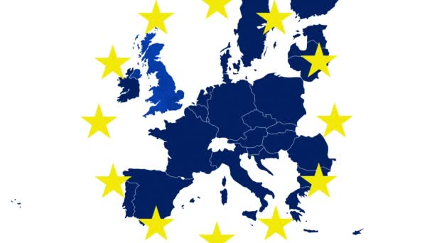 Brexit - EU blue map on white background with 12 symbolic yellow stars - UK evaporates in a blue steam