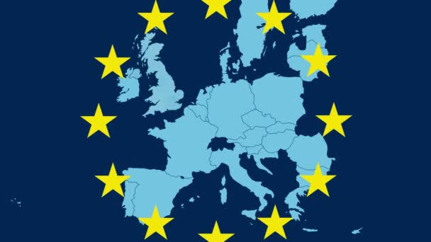 European Union map illustrating Brexit with the United Kingdom disappearing in a smoky effect - stars symbols of the EU