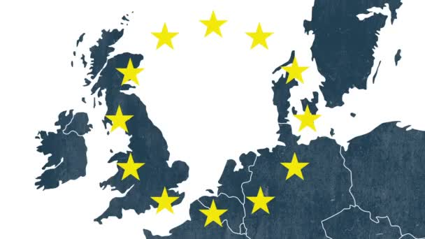 Map of west of European Union with 12 iconic stars - animation for the Brexit - United Kingdom is erased in a smoke animation - white background