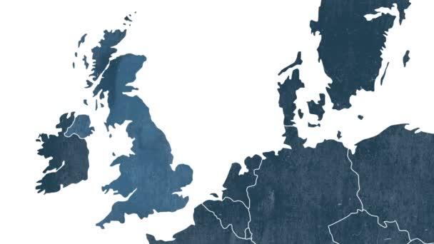 Dekorativní mapa - západně od Evropské unie, animovaný pro Brexit - Velká Británie je vyloučena v kouřové animace - bílé pozadí