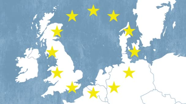 Brexit - map of the west of EU with the 12 symbolic stars - The UK is being erased in a blue smoky effect - graphic blue animation