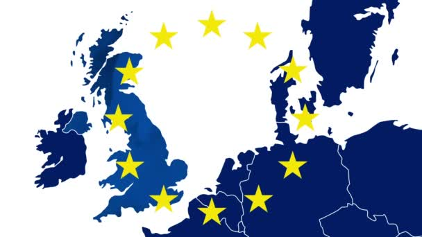 Brexit - West EU blue map with the 12 symbolic stars - The UK disappears in a blue smoky effect