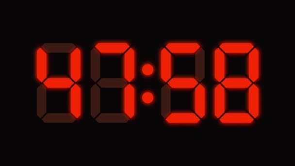 Digital clock countdown from sixty to zero - full HD - LED display - orange numbers