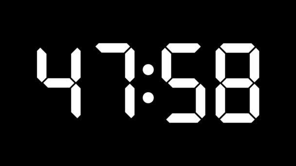 Digitální hodiny odpočítávání osmnáct nula - full hd - časovač s lcd displejem - bílá čísla na černém pozadí