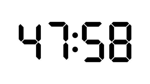 digitális óra visszaszámlálás hatvan nulla - full hd - lcd bemutatás-val időzítő - fekete számok mint egy fehér háttér