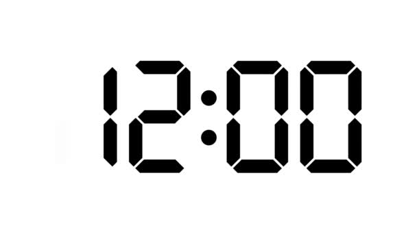 Digital clock count from zero to sixty - full HD - LCD display - black numbers over a white background