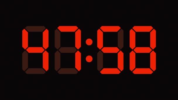 Digital clock countdown from sixty to zero - full HD - LED display - orange numbers