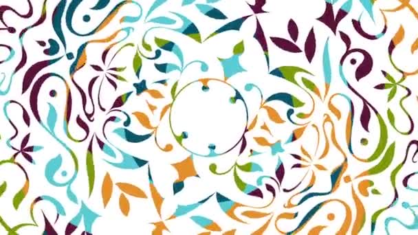 Beautiful colored animation with rotating floral decorative patterns, white background - Full HD 1080p - 1920x1080