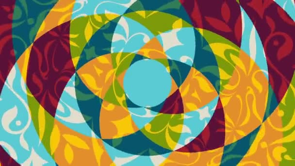 Beautiful colored animation with rotating floral decorative patterns - Full HD 1080p - 1920x1080