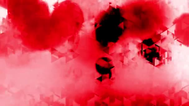 Grafické animace s trojúhelníky a účinky červené skvrny v pozadí