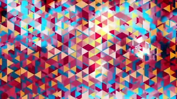 robbanó háromszögek és kék villog a bokeh - Full Hd grafikus színes animáció