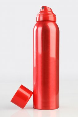 Red Deodorant Perfume Can or Bottle with reflection