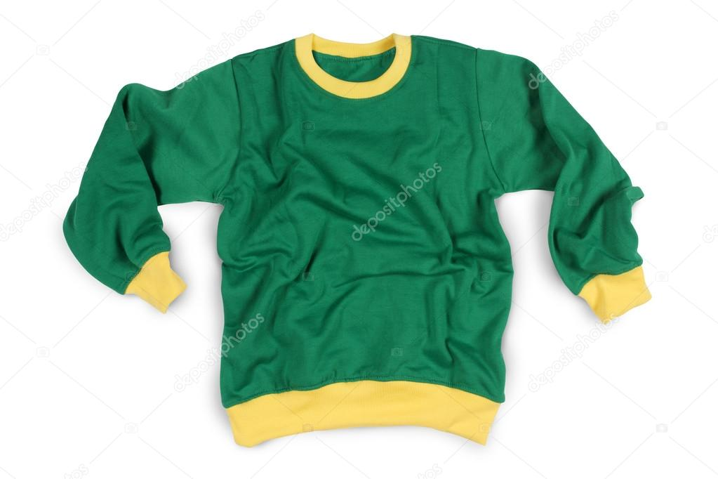 Manga completo de ropa de invierno camisetas maqueta de Color verde  amarillo — Fotos de Stock 87df6e86526bf