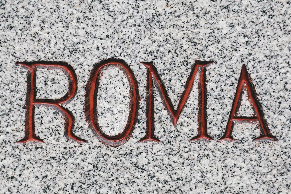 Roma palabra tallada en piedra de m rmol fotos de stock for Imagenes de piedra marmol