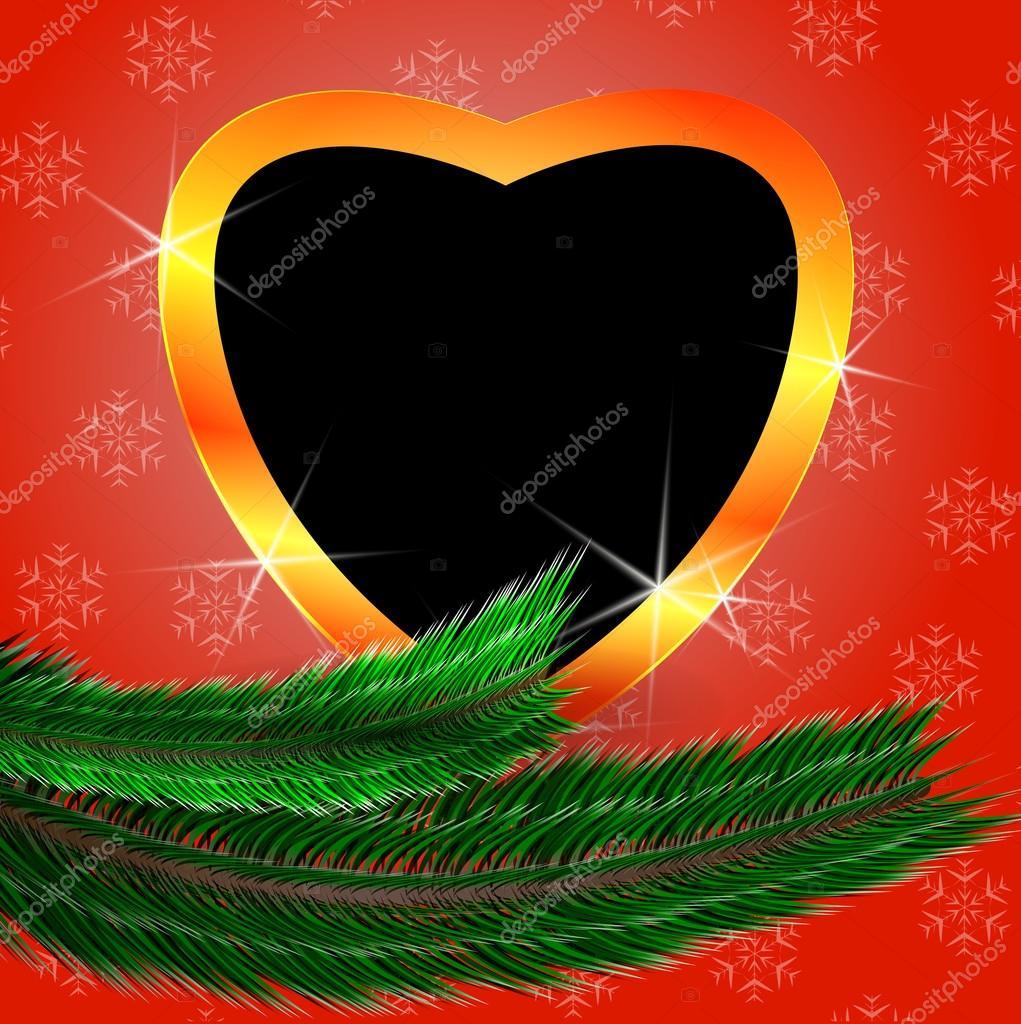 Süße Weihnachten Hintergrund mit herzförmigen leere Bilderrahmen ...