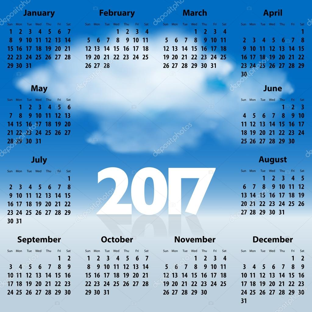 English Calendar for 2017 year with clouds in the blue sky