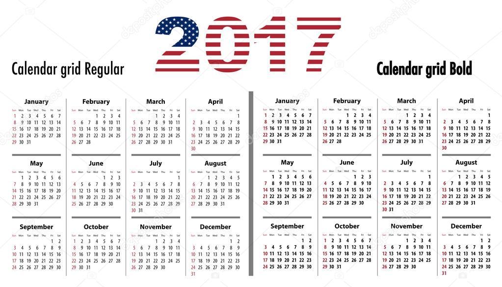 Kalender 2017 Englisch Sf normal und Fett Usa Flagge Farben ...