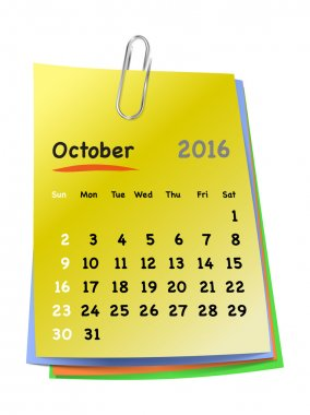 Calendar for october 2016 on colorful sticky notes