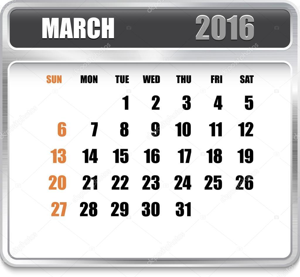 Calendar Monthly March : Monthly calendar for march u stock vector gorgrigo