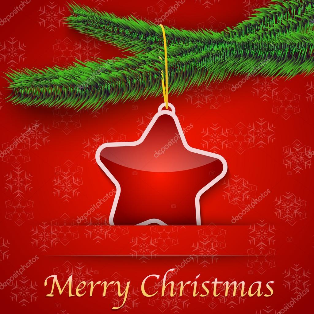Urlaub-Geschenkkarte mit Weihnachtsbaum und ein Stern — Stockvektor ...