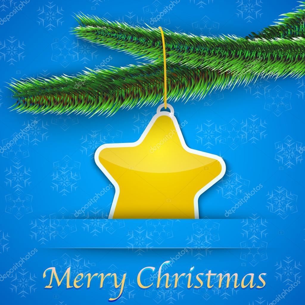 Urlaub-Geschenkkarte mit Weihnachtsbaum und einen gelben Stern ...