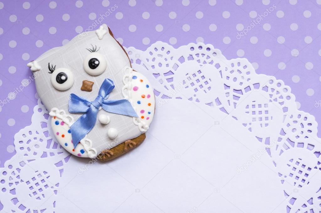 Hintergrund Mit Einem Honig Kuchen Eule Stockfoto C Bastetamon