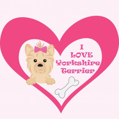 Love message to your pet. Yorkshire terrier cartoon illustration