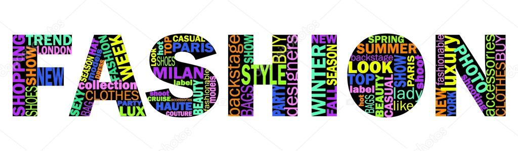 Fashion Words Cloud Words Collage Stock Vector