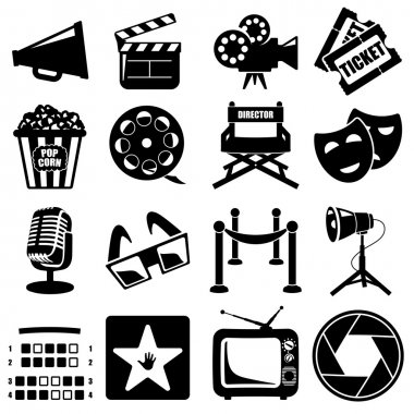 Vector cinema icon set black on white background stock vector