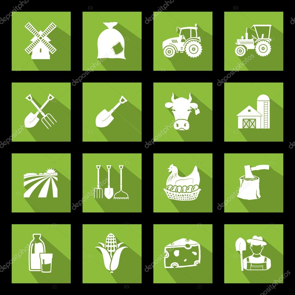 Agriculture icons shaddow